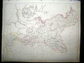 Becker C1840 Antique Map. Prussia, Germany